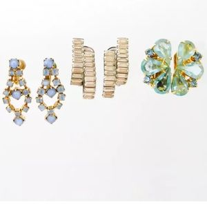 Three Vintage Estate Pairs of Rhinestone Earrings